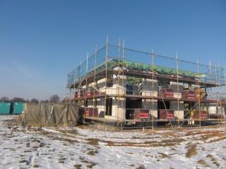 Dachstuhl für ein Passivhaus aus Stein